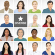 canvas print picture - Diverse People on White Background