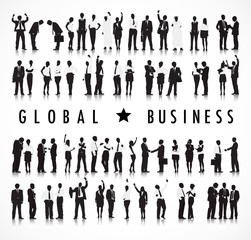Silhouettes of Business People and Global Business Concept