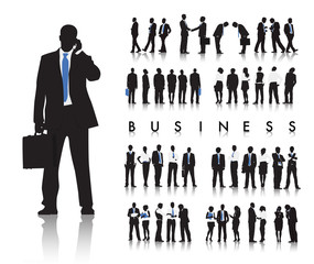 Silhouettes of Business People and Business Text