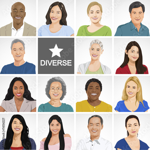 canvas print picture Diverse People on White Background