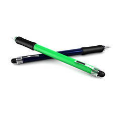 Metal   blue  and green  ball point pen isolated on white backgr