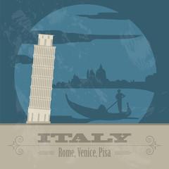 Italian Republic landmarks. Retro styled image