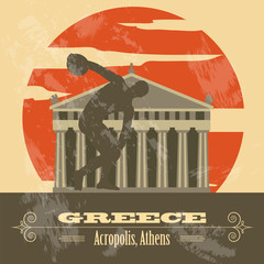 Greece landmarks. Retro styled image