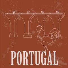 Portugal  landmarks. Retro styled image