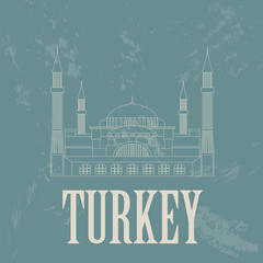 Turkey landmarks. Retro styled image. Vector illustration