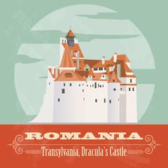 Romania landmarks. Retro styled image