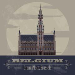 Belgium landmarks. Retro styled image