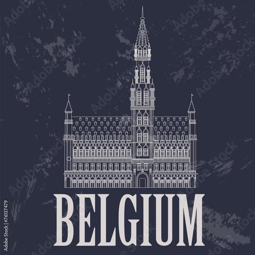 Fototapeta Belgium landmarks. Retro styled image
