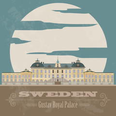 Sweden landmarks. Retro styled image