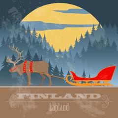 Finland landmarks. Retro styled image