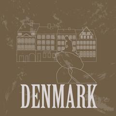Denmark landmarks. Retro styled image