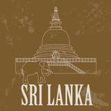 Sri Lanka landmarks. Retro styled image