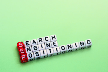 SEP Search Engine Positioning on green