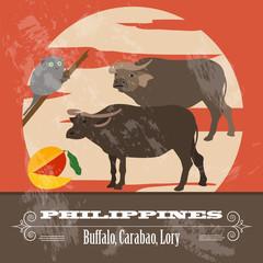 Philippines landmarks. Retro styled image