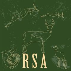 RSA  landmarks. Retro styled image
