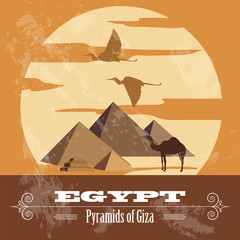 Egypt  landmarks. Retro styled image.