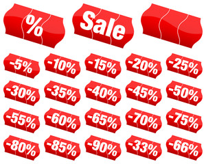 "Sticker Price Tags Set ""Sale"" Minus Red Divided"