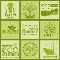 Set of ecology, environment and recycling logos. Vector logo tem