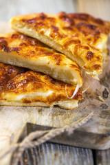 Cheese pie closeup.