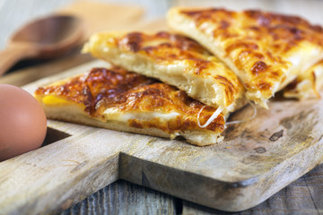 Pieces of cheese pie.