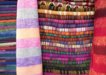 Woolen cloth of different colors in Nepali Bazaar