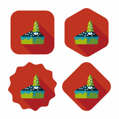 Christmas cake flat icon with long shadow,eps10