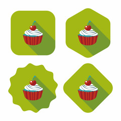 cupcake flat icon with long shadow,eps10