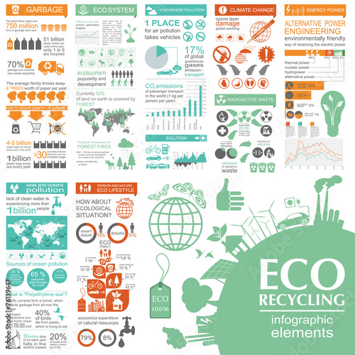 Environment, ecology infographic elements. Environmental risks, - 76139647