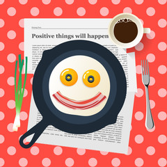 Funny breakfast, smiling face make with fried eggs and bacon