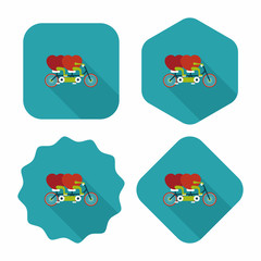 Valentine's Day love heart couple riding bicycle flat icon with