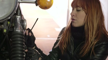 Mechanic Girl Woman Repairing Motorcycle Bike Motorbike Engine