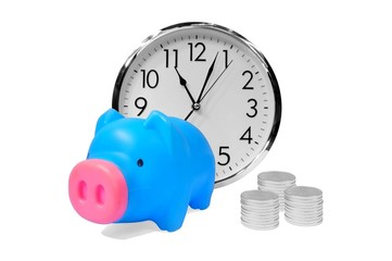 Piggy bank with coins and clock - time money concept