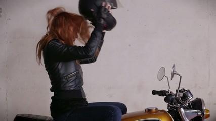 Motorbike Motorcycle Happy Girl Woman Biker Bike With Helmet
