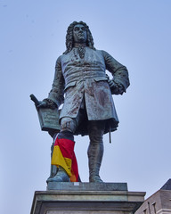 Handel's statue, central market place of Halle, Germany