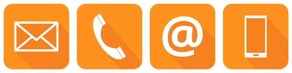 Orangene Kontakt Icons