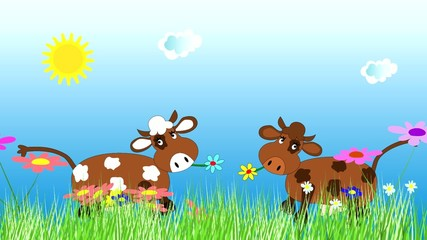 Funny cow dancing and grazing on a green meadow