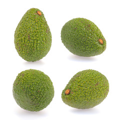 Collection of fresh green avocado