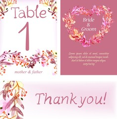 Watercolor floral card set, colorful natural illustration