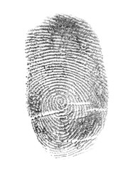 black finger print isolated on white