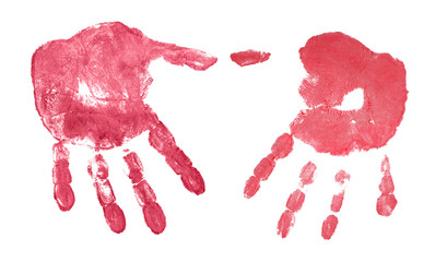 red hand prints isolated on white
