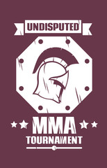 MMA tournament emblem with spartan helmet vector illustration