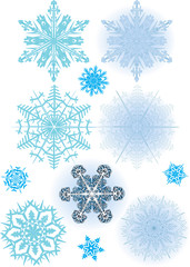 eleven blue snowflakes collection