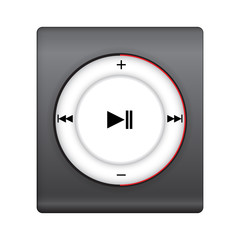 black music player with red cycle hi-light. vector illustration