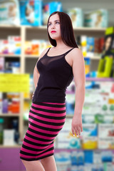 Big breast woman on blured background