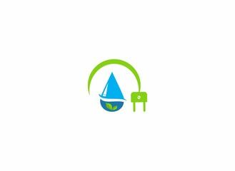 power plug water drop logo
