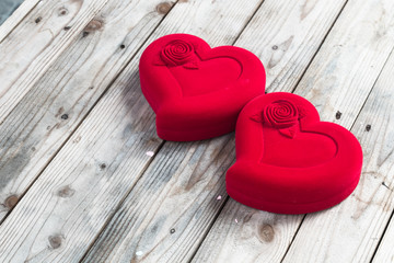 red hearts in valentine