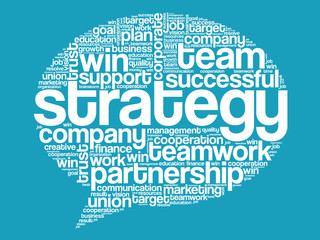 Strategy Think Bubble Words Cloud, business vector concept