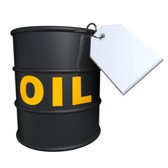 Barrel of oil with a blank price tag