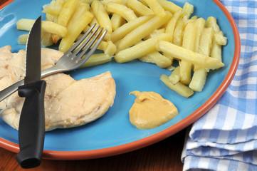 Escalope, frites et moutarde