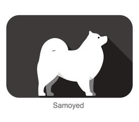 Samoyed dog breed standing flat icon design